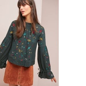 Anthropologie Egret-Embroidered Top new